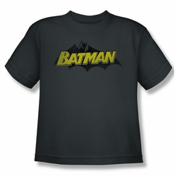 Batman youth teen t-shirt Classic Comic Logo charcoal