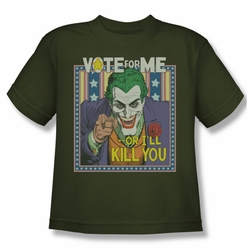 Joker youth teen t-shirt Dark Detective #1 military green