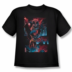 Batman youth teen t-shirt Dark Knight Panels black