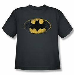 Batman youth teen t-shirt Destroyed Logo charcoal