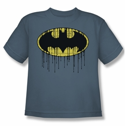Batman youth teen t-shirt Dripping Brick Wall Shield slate