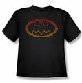 Batman youth teen t-shirt Flame Outlined Logo black