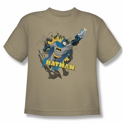 Batman youth teen t-shirt Heroic To The Bone sand