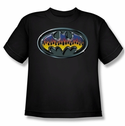 Batman youth teen t-shirt Hot Rod Shield black