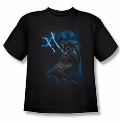Batman youth teen t-shirt Lightning Strikes black