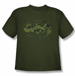 Batman youth teen t-shirt Marine Camo Shield military green