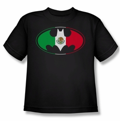 Batman youth teen t-shirt Mexican Flag Shield black