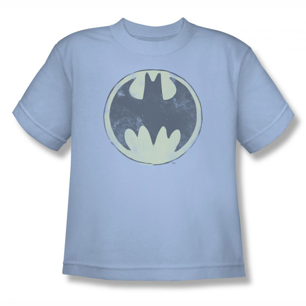 Batman old time logo light blue youth teen t shirt for Old logo t shirts