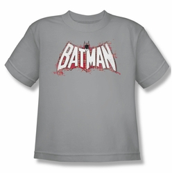 Batman youth teen t-shirt Plaid Splat Logo silver
