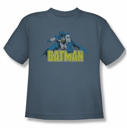 Batman youth teen t-shirt Retro Distressed slate