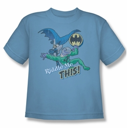 Batman youth teen t-shirt Riddle Me This carolina blue
