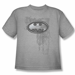 Batman youth teen t-shirt Rivited Metal Logo heather