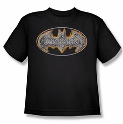 Batman youth teen t-shirt Steel Fire Shield black