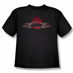 Batman youth teen t-shirt Steel Flames Logo black