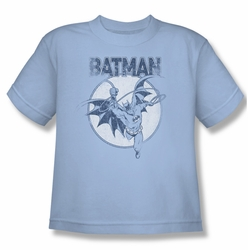 Batman youth teen t-shirt Swinging Bat light blue