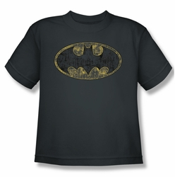 Batman youth teen t-shirt Tattered Logo charcoal