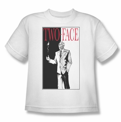 Batman youth teen t-shirt Two Face white