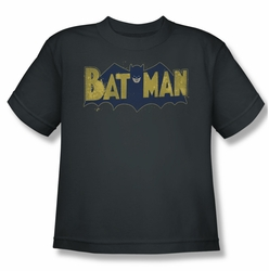 Batman youth teen t-shirt Vintage Logo Splatter charcoal