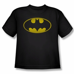 Batman youth teen t-shirt Washed Bat Logo black