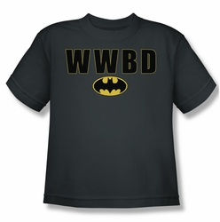 Batman youth teen t-shirt WWBD Logo charcoal