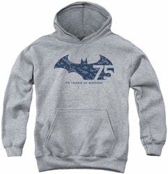 Batman youth teen hoodie 75 Year Collage athletic heather