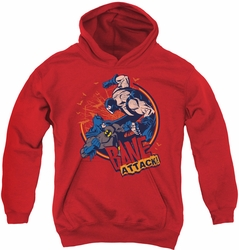 Batman youth teen hoodie Bane Attack! red