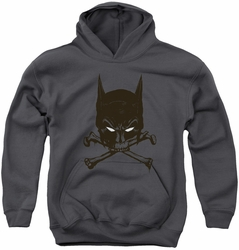 Batman youth teen hoodie Bat And Bones charcoal
