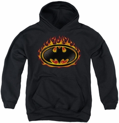 Batman youth teen hoodie Bat Flames Shield black
