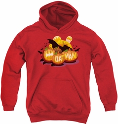 Batman youth teen hoodie Bat O Lanterns red