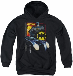 Batman youth teen hoodie Bat Racing black