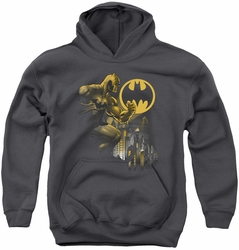 Batman youth teen hoodie Bat Signal charcoal