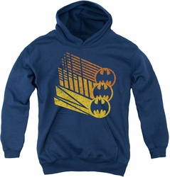 Batman youth teen hoodie Bat Signal Shapes navy