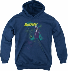 Batman youth teen hoodie Bat Spray navy