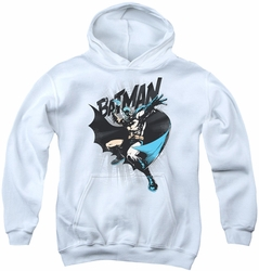 Batman youth teen hoodie Batarang Throw white