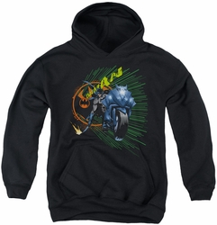Batman youth teen hoodie Batcycle black