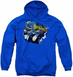 Batman youth teen hoodie Batmobile royal blue