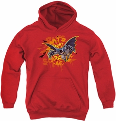 Batman youth teen hoodie Bats Don'T Scare Me red