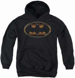 Batman youth teen hoodie Black & Gold Embossed Shield black