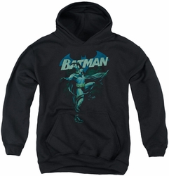 Batman youth teen hoodie Blue Bat black