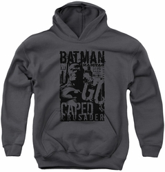 Batman youth teen hoodie Caped Crusader charcoal
