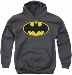 Batman youth teen hoodie Classic Bat Logo charcoal