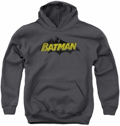 Batman youth teen hoodie Classic Comic Logo charcoal
