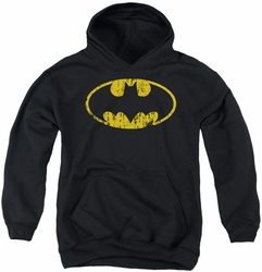 Batman youth teen hoodie Classic Logo Distressed black