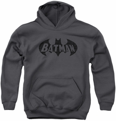 Batman youth teen hoodie Crackle Bat charcoal