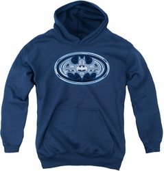 Batman youth teen hoodie Cyber Bat Shield navy