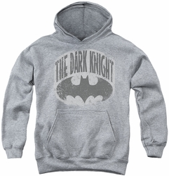 Batman youth teen hoodie Dark Knight Shield heather