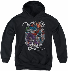 Harley Quinn youth teen hoodie Death By Love black