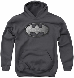 Batman youth teen hoodie Duct Tape Logo charcoal