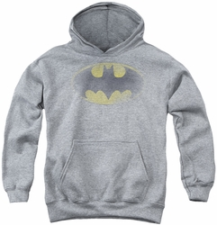 Batman youth teen hoodie Faded Logo athletic heather