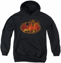 Batman youth teen hoodie Flames Logo black